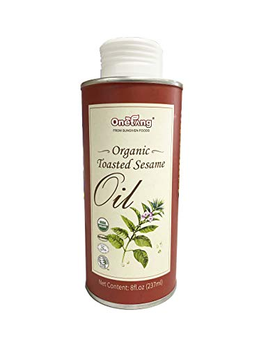ONETANG Organic Toasted Sesame Oil, Delicious Flavor, All-natural, Expeller-pressed, Non-GMO, 8 fl oz