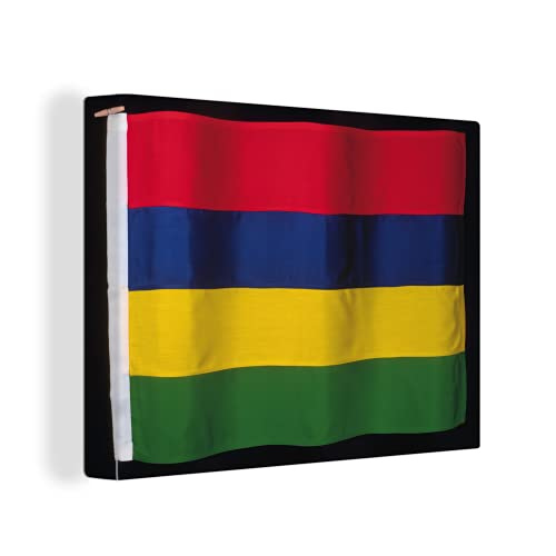 Leinwandbild - Die Flagge von Mauritius auf schwarzem Hintergr& - 120x90 cm