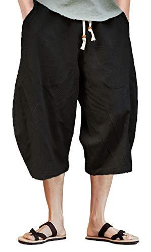 TACVASEN - Pantalones cortos de lino y algodón 3/4 para hombre Negro Negro ( 40