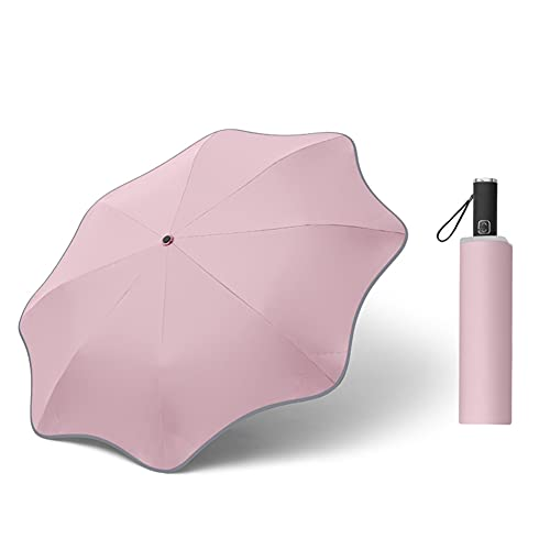Paraguas Plegable Automático Impermeable,Ligero a Prueba de Viento y Agua Anti UV Durable Paraguas de Viaje (Pink)
