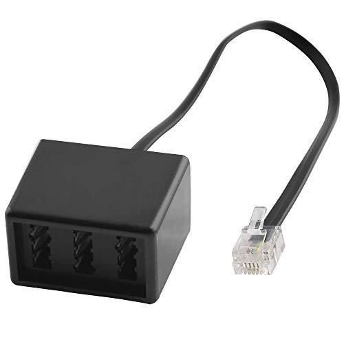 BestPlug 20cm Telefon Fax Kabel Adapter Verteiler Splitter Weiche Verbindungsstück, RJ11 Stecker auf 1 TAE-N Buchse und 2 TAE-F Buchse, Schwarz