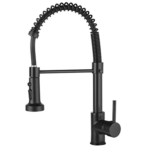 Ntipox Matte Black Kitchen Faucet with Pull Down Sprayer Solid Brass Single Handle Single Lever Commercial Spring Kitchen Sink Faucets,Faucet for Kitchen Sink (1 or 3 Holes)…