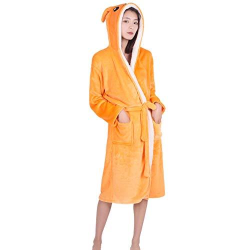 YANGPP Flanell Tier Bademäntel Für Männer Frauen Frühling Winter Mit Kapuze Nachtwäsche Damen Casual Morgenmäntel Frauen Robe Pyjamas, Kangaroo, L