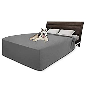 Easy-Going 100% Waterproof Fleece Bed Cover Washable Furniture Protector Cover Soft and Comfortable Fabric Reusable Incontinence Bed Under Pads for Pets Kids Children Dog Cat(King,Gray)