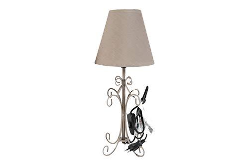 LAMPARA FORJA | IDEAL PARA MESITA DE NOCHE O SALÓN | (Diámetro 16 x altura 38 cm) (lampara 2)