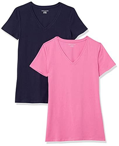 Amazon Essentials Classic-fit Short-Sleeve V-Neck T-Shirt Camiseta, 2-Pack Rosa/Azul Marino, XL, Pack de 2
