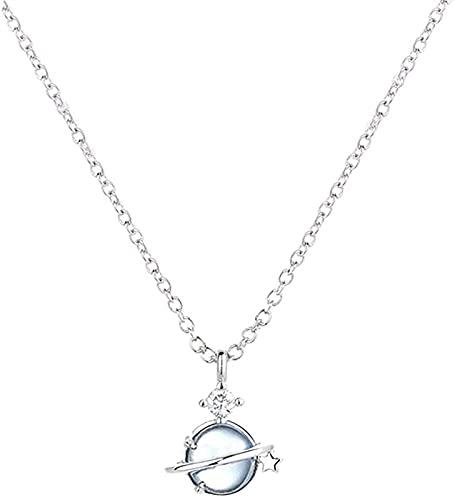JoHUAZ Silver Star Planet Gargantilla Collar Azul Bola de Cristal cósmico pequeño Planeta Colgante Collar for Mujer niñas (Color : Style1)