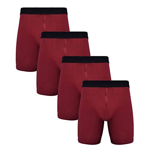 Calzoncillos tipo bóxer de algodón para hombre, ropa interior de pierna larga, paquete de 3/4 - rojo - Medium