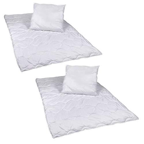 2 Stück Premium Steppbettdecken Set mit Kopfkissen Steppbettdecke 135x200 cm Kopfkissen 80x80