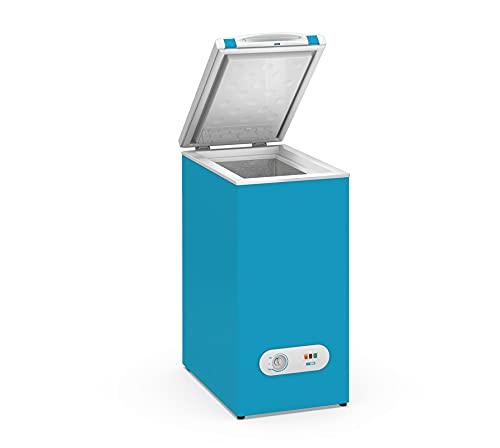 Congelador Horizontal pequeño TENSAI, color Azul, 60 litros de capacidad y 38,4 cm de ancho con clasificación energética A+