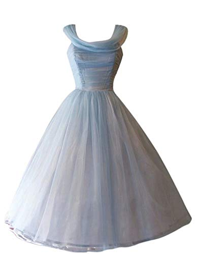 Andybridal Real Photos Ball Gown Pleat Tea Length Bridesmaid Dress Wedding Guest Dress Blue 6 (Apparel)