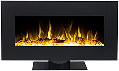 EdenBranch 111006 Wall Mounted Electric Fireplace, Black