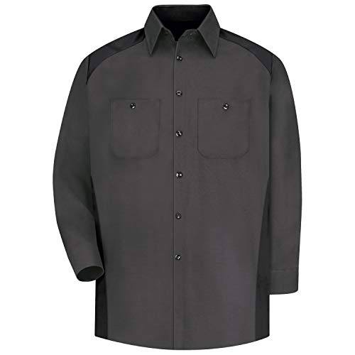 Red Kap Camisa masculina RK Motorsports, Camisa de manga comprida para esportes motorizados, Carvão/preto, Large