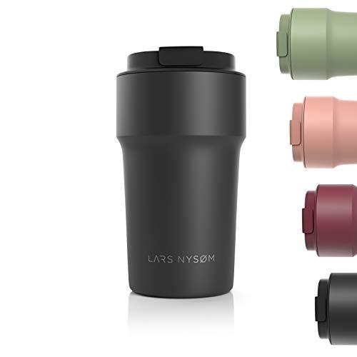 LARS NYSØM Thermo Kaffeebecher-to-go 500ml   BPA-freier Travel Mug 0.5 Liter mit Isolierung   Auslaufsicherer Edelstahl Thermobecher für Kaffee und Tee unterwegs   Teebecher (Schwarz)