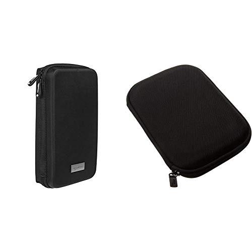Amazon Basics Universaltasche für elektronische Kleingeräte (z.B. Spielekonsolen, Tomtom Navi) und Hartschalenetui für 5-Zoll-Navigationsgeräte, schwarz
