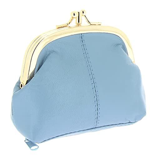 KARL LOVEN Monedero para Mujer en Piel de Cordero - Modelo Retro Vintage - 3 Compartimentos - Cierre Clic-Clac - Monedero para Monedas, Billetes y Tarjetas de crédito Azul Claro