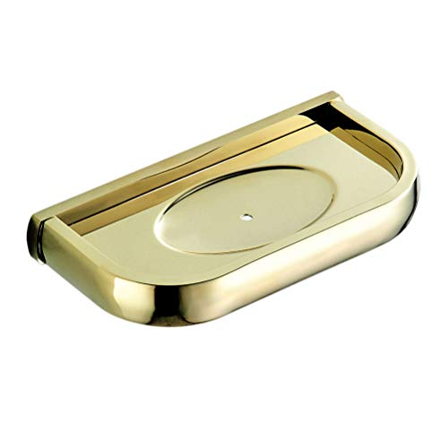 TOPBATHY - Portasapone da parete in ottone, per bagno, cucina, 19,5 x 8 cm, colore: oro