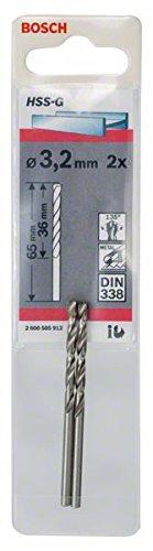 Bosch Professional Metallbohrer HSS-G geschliffen (2 Stück, Ø 3,2 mm)