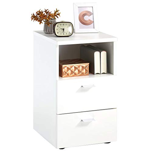 Casdl FMD Nachttisch mit 2 Schubladen und Offenem Regal Weiß