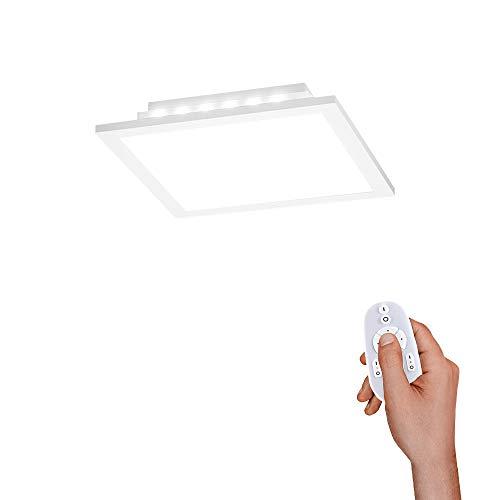 LED Panel flach, 30x30, dimmbare Decken-Lampe mit indirekter Deckenbeleuchtung | Farbtemperatur mit Fernbedienung einstellbar, warmweiss - kaltweiss | Decken-Leuchte für Wohnzimmer, Küche und Bad