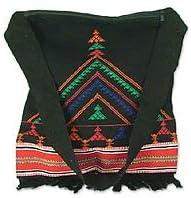 NOVICA Black Cotton Shoulder Bag, Night Colors'