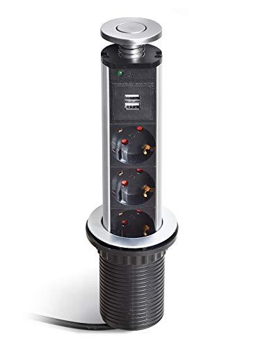 Plastimodul F23050 Verdeckter Turm mit 3 Steckdosen und 2 USB-Anschlüssen