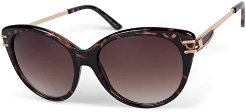styleBREAKER Damen Sonnenbrille in Katzenaugen Form mit Polycarbonat Gläsern und Metall Bügel, Cat-Eye Brille 09020111, Farbe:Gestell Braun Demi / Glas Braun Verlauf