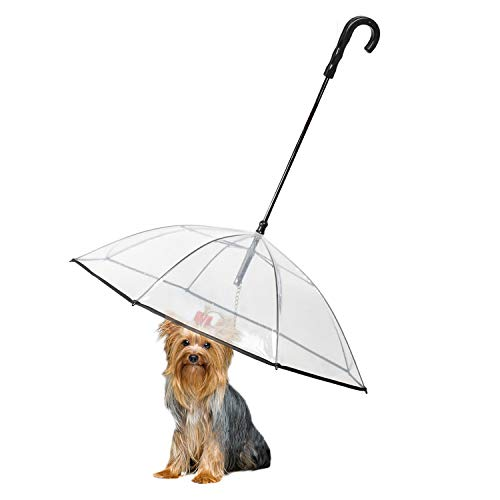 Enjoying Pet Umbrella Dog Umbrella with Leash Rain Proof Snow-Proof Umbrella for Small Dogs