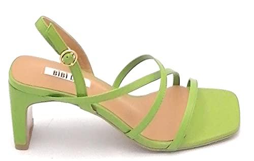 Bibilou 570Z10 Sandales Bracelet Cuir Vert Talon 6 cm - Taille chaussure 36 EU Couleur Vert Pistache