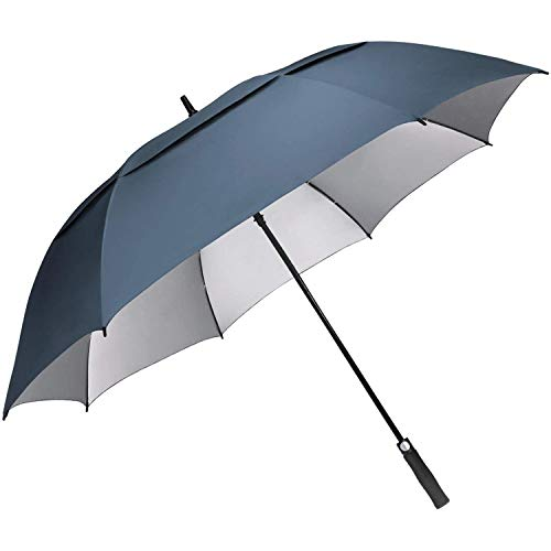G4Free 68inch UV Protection Oversize Windproof Automatic Open Golf umbrella Double Canopy Vented Waterproof Large Sun Stick Umbrellas(Blue)