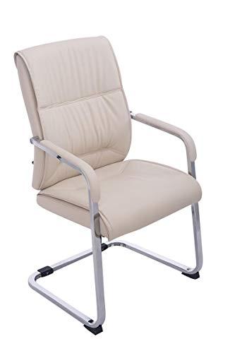 XXL-Freischwinger Anubis Konferenzstuhl mit Armlehne - Kunstlederbezug und gepolsterter Sitzfläche Farbe Creme