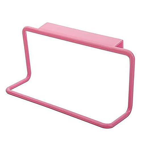 Draagbare Cupboard Hanger Kleren opknoping plastic-type deur terug simpele handdoek rack punch-vrije droogrek Afwassen lap rek voor Kitchen badkamer,Pink