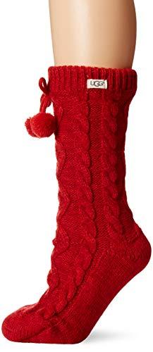 UGG Women's Pom Pom Fleece Lined Crew Sock, Poppy Red, One Size