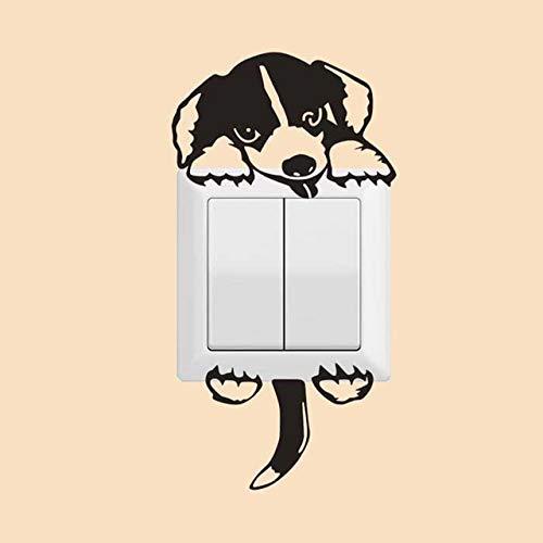 Pegatinas de Pared Precioso gato pegatinas de pared interruptor de la luz for los niños salas de animales de dibujos animados de bricolaje casero de la decoración de la pared de PVC Decoraciones de in