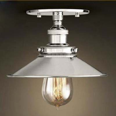 Baycheer Semi Flush Mount Lamp 22cm E27 Celling Light Kitchen Lamp Ceiling Fixture Industrial Lighting Polished Chrome Amazon Co Uk Lighting
