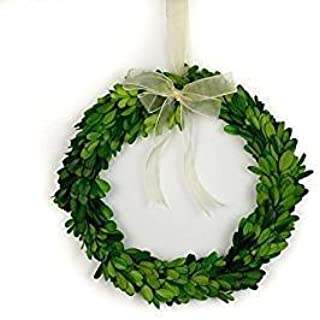 Tradingmsith Preserved Boxwood Round Wreath - 10 inch with Ribbon