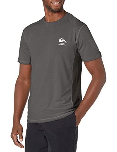 Quiksilver Bamboo Check Short Sleeve Rashguard Surf Tee Shirt Maglietta Rash Guard, Grigio, XL Uomo