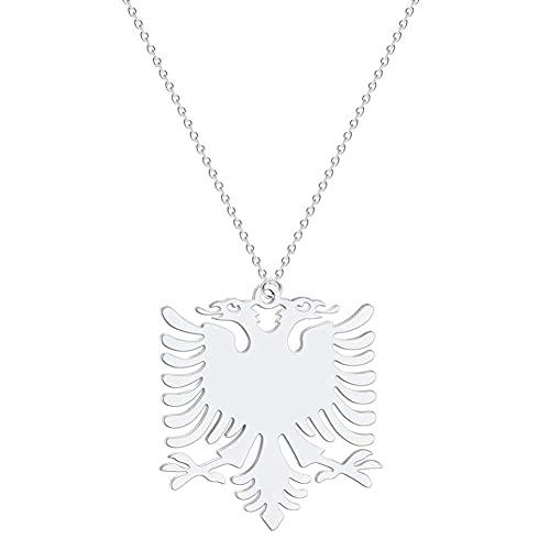XIAOSO Albanien Adler Anhänger Halskette Wappen Doppeladler Halskette Ethnische Edelstahl Geschenke Für Frauen Männer (Silver Plated)