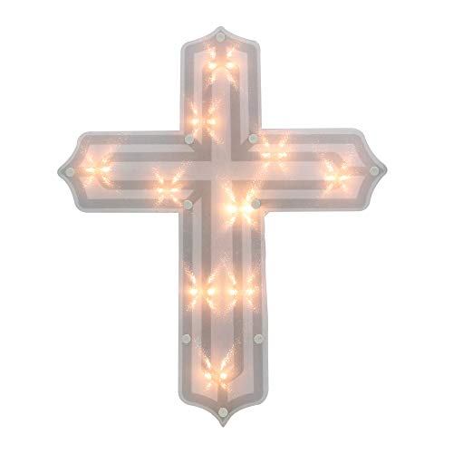 """Northlight 14"""" Lighted Religious Cross Easter Window Silhouette Decoration"""