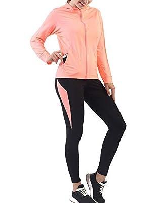 Active Wear Sets-Workout Clothes Gym Wear Track Suits Jacket Pants 2 Pieces Set Deep Pink