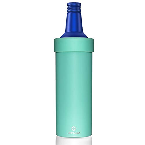 JIVILILM Vacuum insulated Double wall stainless steel can cooler holder for 16oz slim aluminum beer bottles (Aqua)