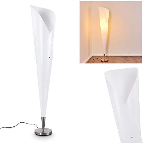 Lampadaire Mungia avec élégant abat-jour conique blanc, luminaire moderne de 148 cm de haut avec interrupteur sur le câble, pour une ampoule E27 max. 42 Watt, compatible ampoules LED