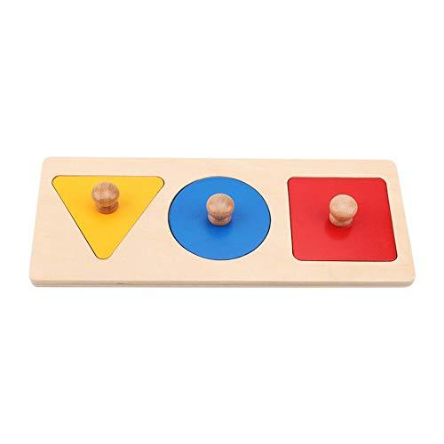 Puzzles de madera Juguete geométrico Agarre de mano Forma Bloque del tablero de reconocimiento de color(Panel de tres colores)