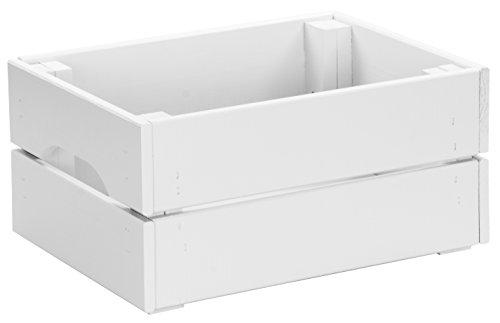 LAUBLUST - Kiste aus 100% Massivholz in Größe M - Kiefer Weiß ca. 31 x 23 x 15 cm - Holzkiste zur Aufbewahrung und Dekoration