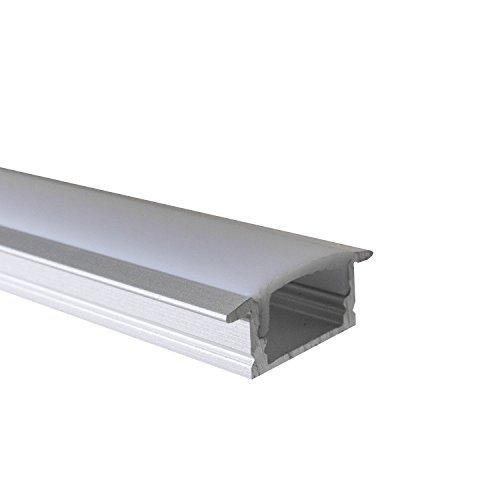 OPAL - 200 cm LED Aluminium Profil EINBAU-KL + 200 cm weiß milchige Abdeckung für LED-Streifen 2m Alu Profile Leisten von Alumino®