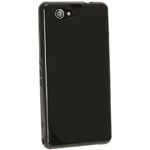 iGadgitz U2807 Schwarz Glänzend TPU Tasche Kompatibel mit Sony Xperia Z1 Compact D5503 + Display Schutzfolie