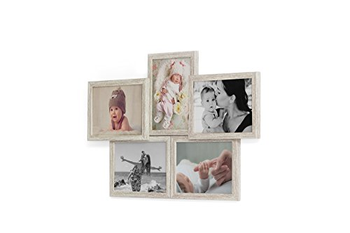 Fotogalerie für 5 Fotos 13x18 cm - 3D 503 Optik - Bilderrahmen Bildergalerie Fotocollage Rahmenfarbe Altes Holz