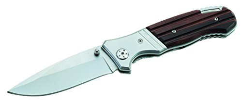 ATK Messer Einhandmesser Frame Holzgriffschale Gürtelclip Länge geöffnet: 20.2cm, grau, M
