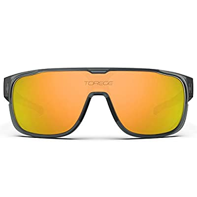 TOREGE Polarized Sports Sunglasses For Man Women Cycling Running Fishing Golf TR90 Unbreakable Frame TR13 Racer (Matte Transparent Gray&Black&Orange Lens)