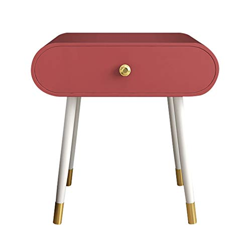 Nightstands Bedside Table Nordic Iron Art High Foot Nightstand Bedside Storage Locker Rounded Edge Single Drawer Bedroom Furniture (Color : Red, Size : 504050cm)